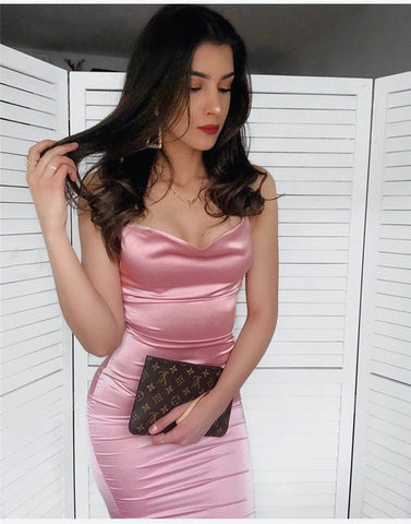 Spaghetti Strap Satin Sexy Bodycon Dress