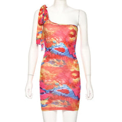 One-shoulder Colorful Print Tie Dye Sexy Mini Dress