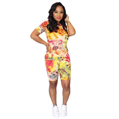 Tie Dye Round Neck Suit Two Piece Set