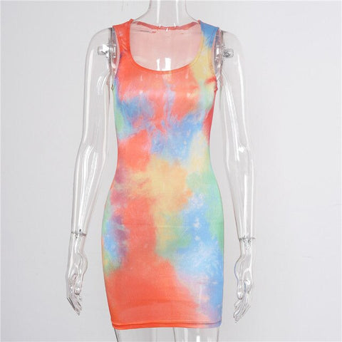 Sleeveless Tie Dye Bodycon Streetwear Sundress