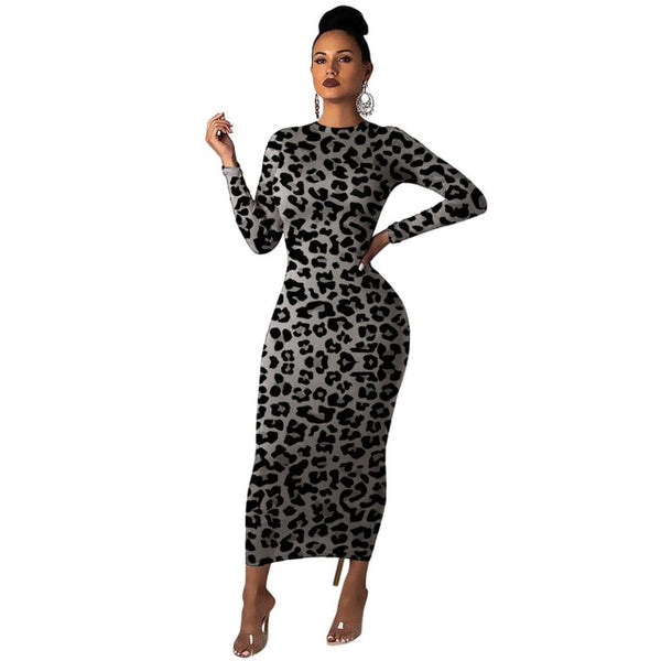 Women Leopard Long Sleeve Dress Evening Party Dress