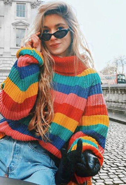 Rainbow Turtleneck Oversized Pullover Female Sweaters