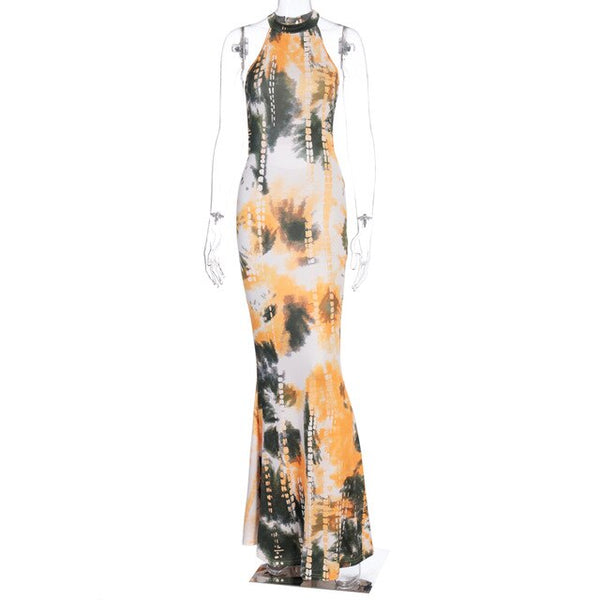 Halter Sleeveless Tie Dye Print Bodycon Long Dress