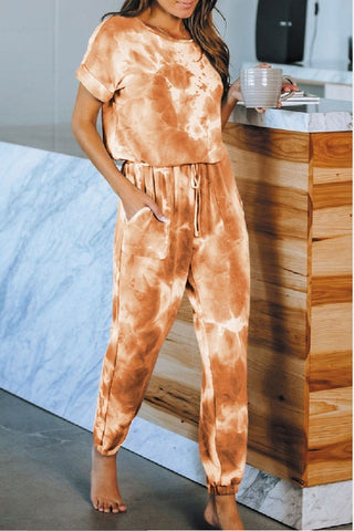 Tie Dye Short Sleeve Harem Pants Suit