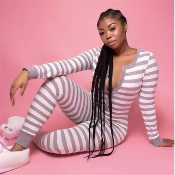 Slim Fit Autumn Spring Gray Pink Stripped Jumpsuit