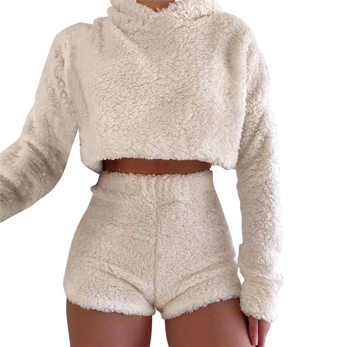 Ladies Fur Two Piece Warm Wool Sexy Suit