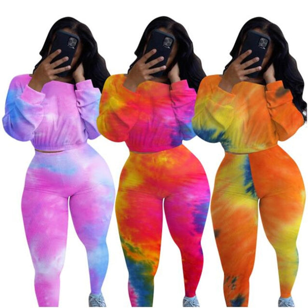 Sexy Streetwear Tracksuit Festival Clothing Tie Dye Outfits