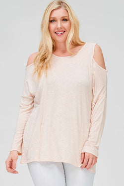 PLUS SIZE COLD SHOULDER SLUB KNIT TOP