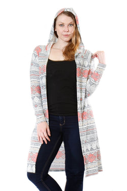 Plus Size Grey and Pink Print Cardigan