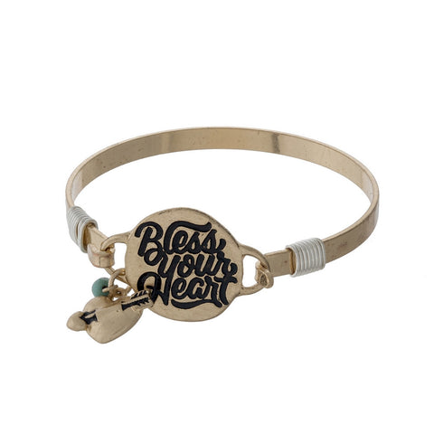 "Gold Tone ""Bless Your Heart"" Bangle Bracelet"