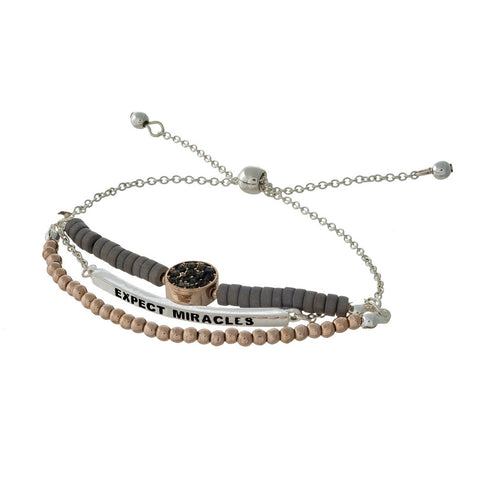 """Expect Miracles"" Silver and Rose Gold Pull Tie Bracelet"