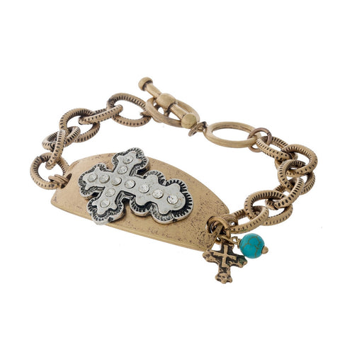 Two Tone Toggle Bracelet with Cross embellishment