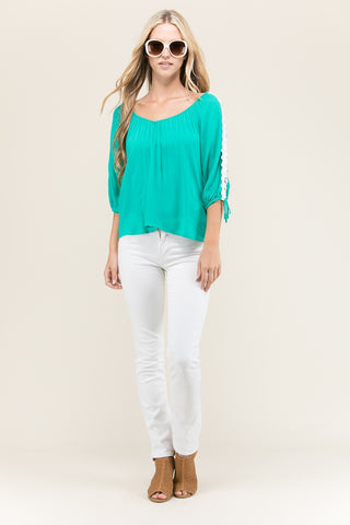 Let's Get Away Lace Sleeve Top