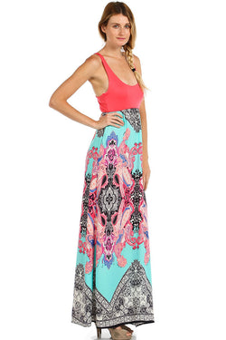 INDIAN PRINT SLEEVELESS COMBO MAXI DRESS