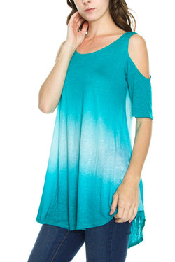 COLD SHOULDER HALF SLEEVE TUNIC TOP