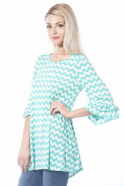 Mint and White Zig Zag Tunic Top