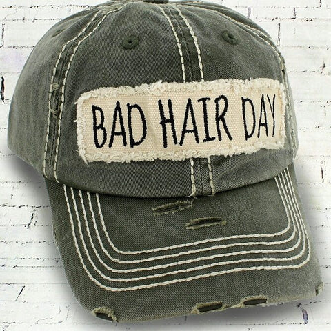 DISTRESSED OLIVE 'BAD HAIR DAY' CAP