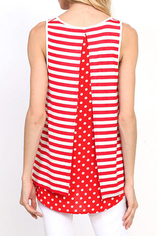 STRIPED CONTRAST POLKA DOT DOUBLE LAYER BACK TANK TOP