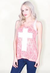 Lace Back Tank with a Sequin Cross Design