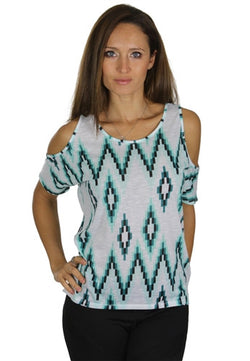 Open Shoulder Print Top