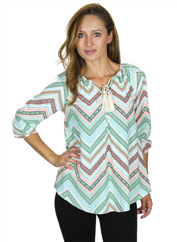 3/4 length sleeve print top with elastic cuffs & tassel cord