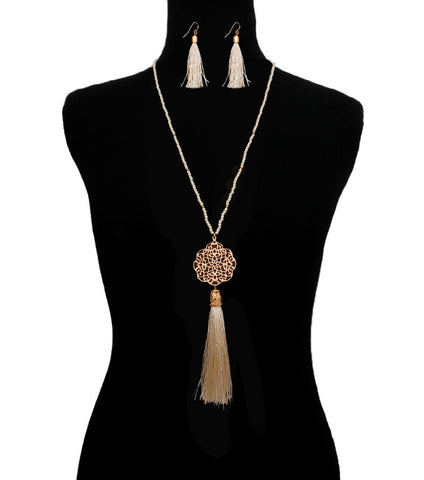 Wine Toned Long Filigree Necklace Set