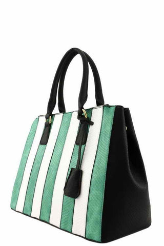 DESIGNER 2 IN 1 STRIPED TOP HANDLE BAG