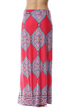 Red Paisley Print Maxi Skirt