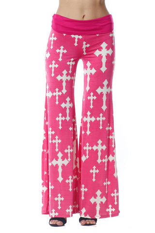 Hot Pink Palazzo Pants with Crosses