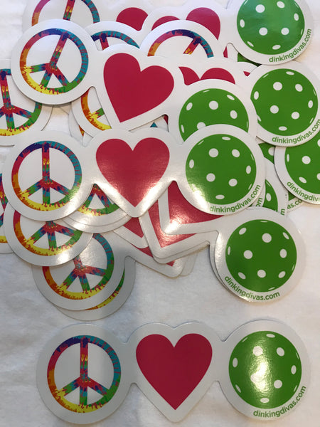 "Peace Love Pickleball 7.35"" X 2.37"" Decal"