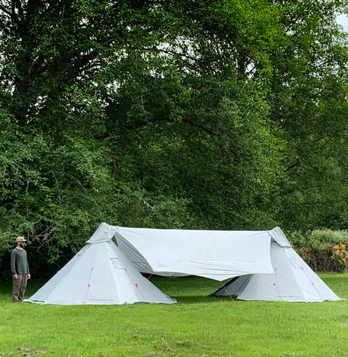 Batwing Camp Tarp x 2 Megahorn Tipi Video