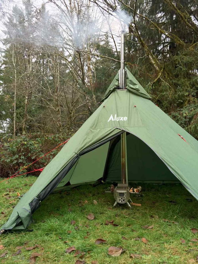 Center Wood Stove in (Megahorn) Teepee Video & Lightweight Camping Blog u2013 Luxe Hiking Gear
