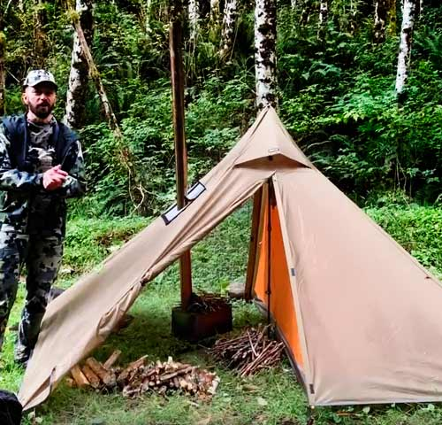 7 Day Tipi Wood Stove Tent Backpack Elk Hunt (Early Season) Rainforest