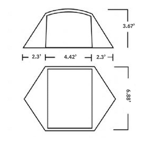 Habitat NX 2-Person Tent Size Chart