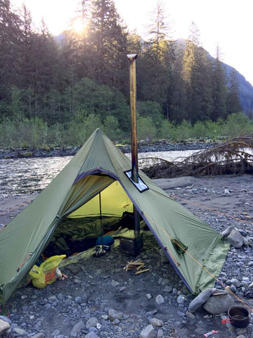 Hexpeak XL Hot Tipi Tent on River