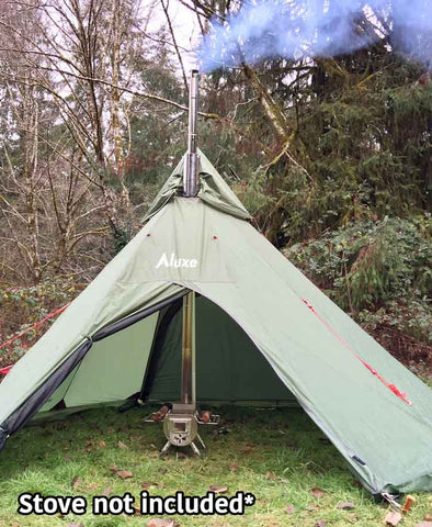 Megahorn Teepee with Wood Stove at Center & Megahorn Winter Teepee (4P) Outer Tent with Snow Skirts u2013 Luxe ...
