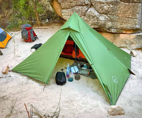 Minipeak Pyramid Tent Backpacking Camp