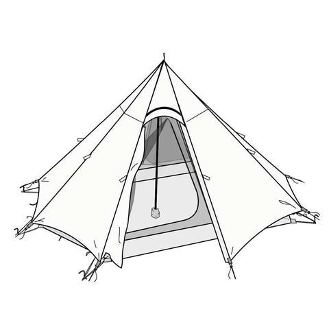 Octopeak Teepee Inner and Outer Tent Chart