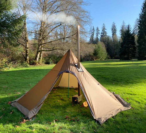 Octopeak 6P Tipi Wood Stove and Snow Skirts