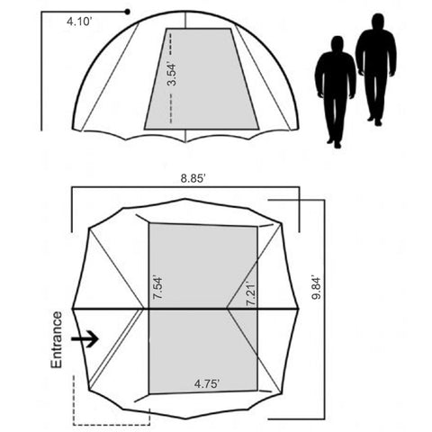Peakarch 2-Person Tent Size Chart