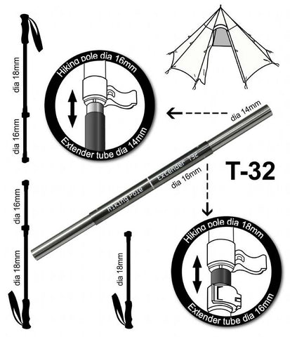 Middle Link Extension Sections T 32 And T 45 For Trekking Poles