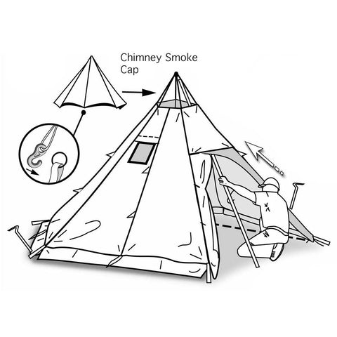 Teepee with Removable Top for Fire Smoke