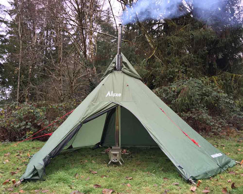 Teepee Tent Using Tent Protector Pipe Sleeve