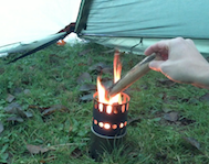 Wood Burning Camp Stove in Teepee Tent