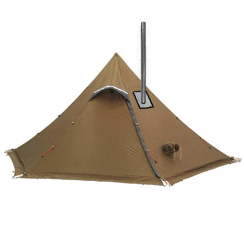 Hexpeak XL with Stove Jack Chimney Pipe and Snow Skirts Brown