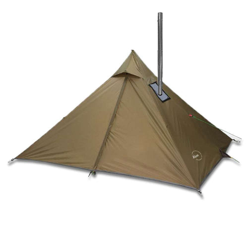 Minipeak XL Pyramid Wood Stove Tent in Brown with Pipe