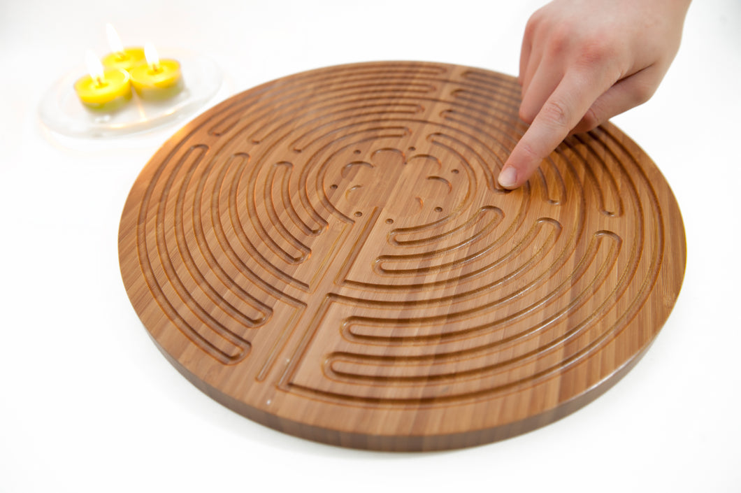 Meditation Kit with Double-sided Bamboo Finger Labyrinth and Sage Spray