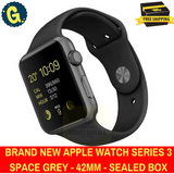 Sealed Box Apple Watch Series 3 - 42 mm Space Grey Sports Band 1 Year Apple Warranty