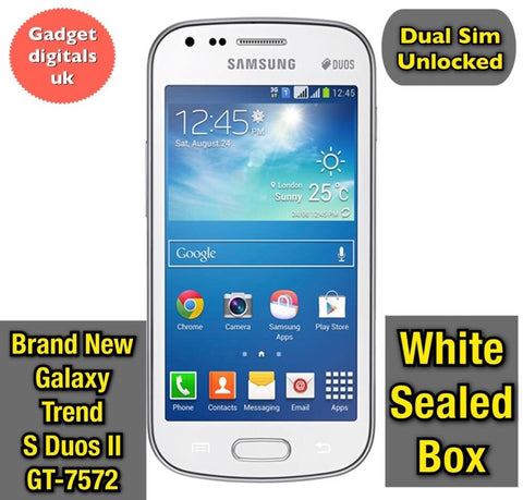 New Samsung Galaxy S Duos Trend II GT-s7572 White Dual SIM Unlocked Smartphone
