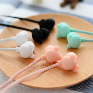 New Bear Cute Earphone in-ear Candy Color Girl Earphone 3.5mm jack